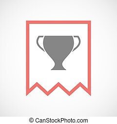 Isolated line art ribbon icon with a cup