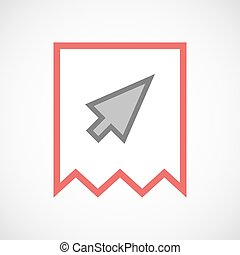 Isolated line art ribbon icon with a cursor