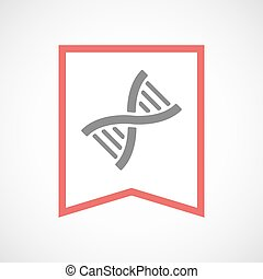 Isolated line art ribbon icon with a DNA sign