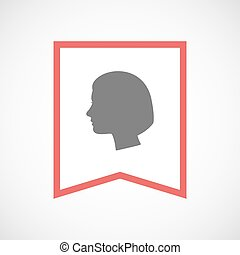 Isolated line art ribbon icon with a female head
