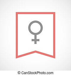 Isolated line art ribbon icon with a female sign