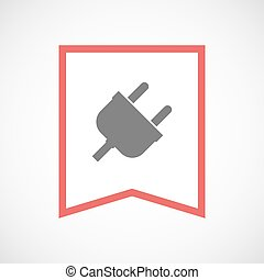 Isolated line art ribbon icon with a plug