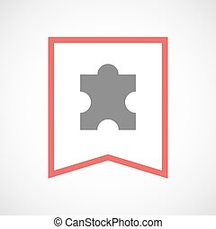 Isolated line art ribbon icon with a puzzle piece