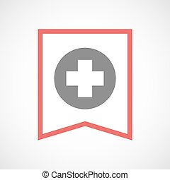 Isolated line art ribbon icon with a round pharmacy sign