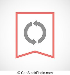 Isolated line art ribbon icon with a round recycle sign