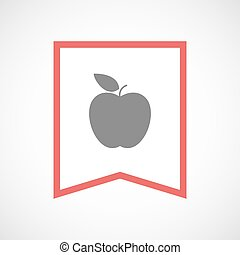 Isolated line art ribbon icon with an apple