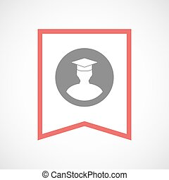 Isolated line art ribbon icon with