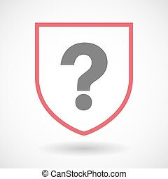Isolated line art shield icon with a question sign