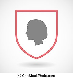 Isolated line art shield icon with a female head