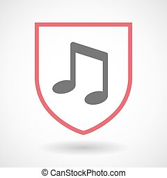 Isolated line art shield icon with a note music
