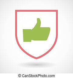 Isolated line art shield icon with a thumb up hand