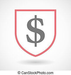 Isolated line art shield icon with a dollar sign