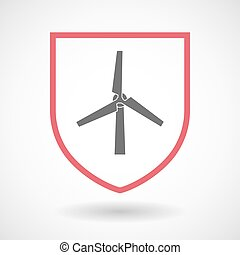 Isolated line art shield icon with a wind turbine - ...