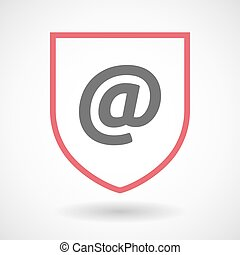 Isolated line art shield icon with an at sign