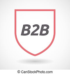 Isolated line art shield icon with the text B2B