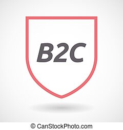 Isolated line art shield icon with the text B2C
