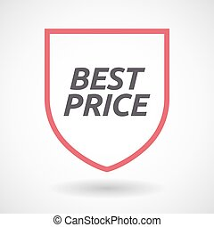 Isolated line art shield icon with    the text BEST PRICE