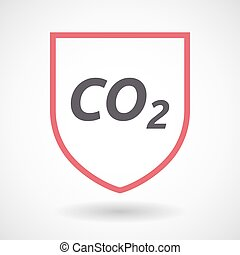 Isolated line art shield icon with    the text CO2