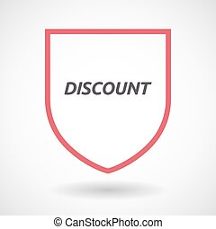 Isolated line art shield icon with the text DISCOUNT
