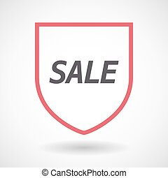 Isolated line art shield icon with the text SALE