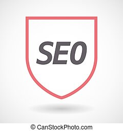 Isolated line art shield icon with the text SEO