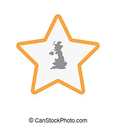 Isolated line art star icon with  a map of the UK