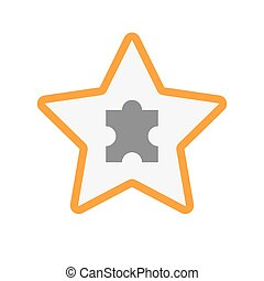Isolated line art star icon with a puzzle piece