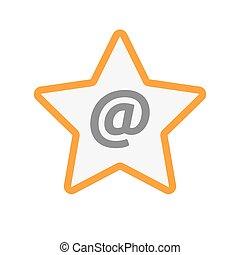 Isolated line art star icon with an at sign