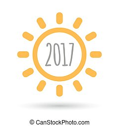 Isolated line art sun icon with  a 2017 year  number icon