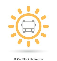 Isolated line art sun icon with  a bus icon