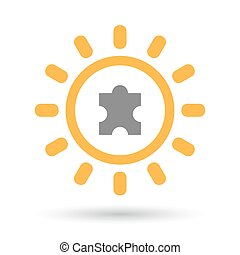 Isolated line art sun icon with a puzzle piece