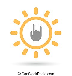 Isolated  line art sun icon with a rocking hand