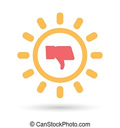 Isolated  line art sun icon with a thumb down hand