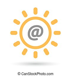 Isolated line art sun icon with an at sign