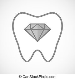 Isolated line art tooth icon with a diamond
