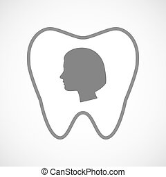 Isolated line art tooth icon with a female head