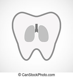 Isolated line art tooth icon with  a healthy human lung icon