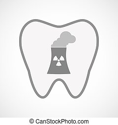 Isolated line art tooth icon with a nuclear power station