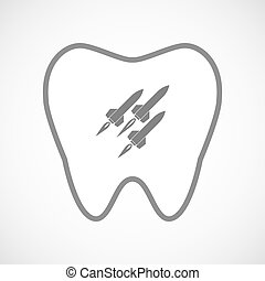 Isolated line art tooth icon with missiles