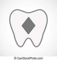 Isolated line art tooth icon with  the  diamond  poker playing card sign