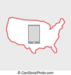 Isolated line art  USA map icon with a smart phone