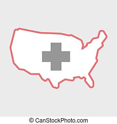 Isolated line art USA map icon with a pharmacy sign