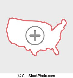 Isolated line art USA map icon with a sum sign