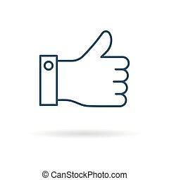 Isolated linear icon of FINGER UP