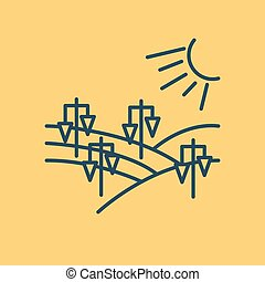 Isolated linear icon - vineyard landscape - Vector linear...