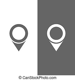 Isolated location icon for maps on a black and white background