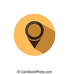 Isolated location icon for maps on a yellow circle with shade