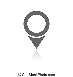 Isolated location icon for maps with reflection on a white background