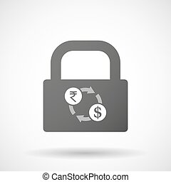 Isolated lock pad icon with  a rupee and dollar exchange sign