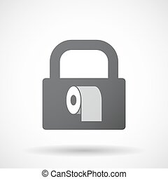 Illustration of an isolated lock pad icon with a toilet paper roll